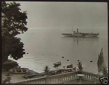Glass Magic Lantern Slide PADDLE STEAMER ON A LAKE C1920 PHOTO ITALY ?
