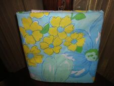 VINTAGE PENNEY FASHION MANOR GREEN YELLOW FLORAL RETRO TWIN/TWIN XL FLAT SHEET