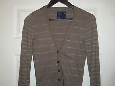 American Eagle Outfitters Silver Striped Brown Cardigan Sweater Size XS EXC