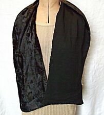 VINTAGE DOUBLE SIDED BLACK CUT OUT PATTERN VELVET CREPE SCARF EVENING GOTH SMART