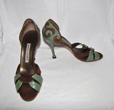 Manolo Blahnik Brown Suede/Jade Patent Leather Open Toe Palmata D'Orsay Pumps 38