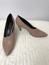 Nine West Tan Proud Mama Leather Heels Beige Pointed Toe Pumps Career