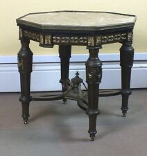 "Antique octagonal side table,Victorian,marble top,brass ormulu,21"", mahogany"