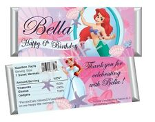 Ariel The Little Mermaid Candy Bar Wrappers - Party Birthday Favors Set of 12