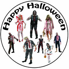 "Halloween Zombies Cake Topper - A Easy Pre-cut Round 8"" (20cm) Icing Decoration"