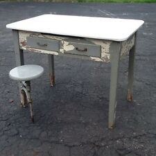 Vintage Wood 2 Drawer Table With Porcelain Top And Attached Stool -Great Look !!