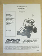 MANCO MODEL 812-00 GO KART PARTS LIST OPERATORS MANUAL CART