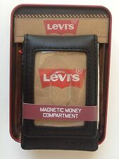 LEVI'S LEATHER MAGNETIC MONEY COMPARTMENT ID FRONT POCKET STYLE:31LV1622 BLACK