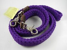 WESTERN HORSE PURPLE COTTON ROPING REINS FOR TRAIL OR RODEO, BARREL RACING