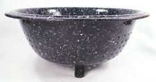 Vintage Black Graniteware Colander Strainer White Speckles Country Kitchen