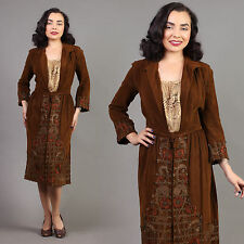 vtg BROWN VELVET lace bib EMBROIDERED edwardian floral antique dress 1910s S/M
