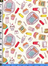 Fabric A131 Elizabeth BARBARA'S DINER FOOD JUKE BOX BURGERS FRIES SHAKE TOSS CRM