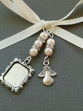 Wedding Bouquet Charm Photo frame locket pendant + angel charm pale pink pearls