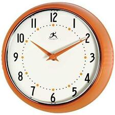 Infinity Instruments Orange Retro 9.5-Inch Metal Wall Clock New