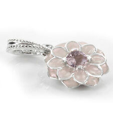 DAHLIA PENDANT 925 Solid Sterling Silver Shimmering Pink Stone Flower Bead Charm