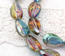 6 Crystal NORTHERN LIGHTS AB Coated Teardrop Beads, Sculpted unique cut bgl0561