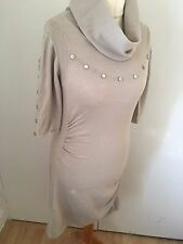 Karen Millen Stone Camel Stud Knit Dress UK 14 KM 4