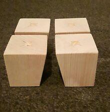 A set 4 wooden sofa feet furniture pine square