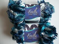 Needle Crafters Feather Boa fashion yarn, Blue Velvet Blend, lot of 2(53 yds ea)