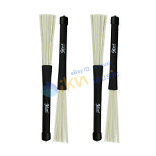 2 Pairs Drum Brushes Retractable Rubber Handle with White Nylon Drum Brush