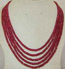 """Stunning 5-row 2x4 mm natural faceted Red ruby abacus Beads necklace 17-21"""""""