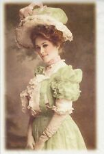 Rice Paper for Decoupage Decopatch Scrapbook Craft Old Pictures Lady in Green