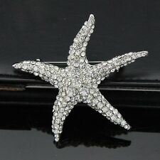 Gorgeous Silver Plated Full Rhinestone Starfish Wedding Party Brooch Pin C003