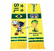 2014 Brazil Scarf Set 2 Scarves Mascot Fuleco World Cup for Soccer Fans