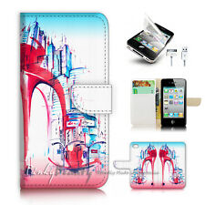 iPhone 4 4S Flip Wallet Case Cover P3030 High Heel Shoe