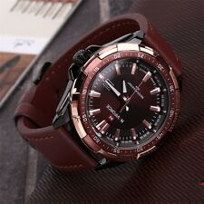 Rosegold Masculino Leather Strap Watch Men Quartz Wristwatche NAVIFORCE NF9056F7