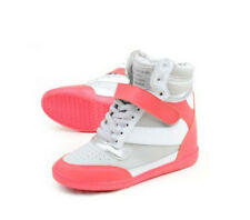 Womens Girls Lace Up Sports Shoes Boots High Top Hidden Wedge Casual Sneakers Sz