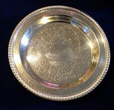 POOLE SILVER EPC Heavy  Footed Round Engraved Serving Tray 1005