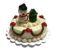 Snowman Christmas White Cake Dollhouse Miniature Food Holiday Season (3 cm)