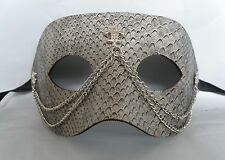 Grey Leatherette Masquerade Mask With Silver Chain - *NEW*