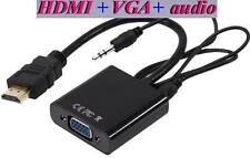 HDMI to VGA with 3.5mm Jack Audio Cable Video Converter Adapter For Xbox 360 PS3