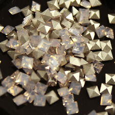 50pcs 4x4mm pointed back glass crystal square rhinestones jewels nail art beads