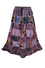 VINTAGE ETHNIC MAXI SKIRT PATCHWORK PINK PRINTED GYPSY HIPPIE BOHO LONG SKIRTS