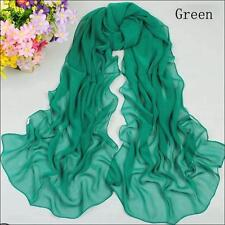 Spring Women's Silk Feel Solid Green Chiffon Soft Oblong Scarf Shawl Scarves