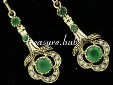 CE103 - EXQUISITE Genuine 9ct Gold NATURAL Emerald & Pearl Drop Earrings