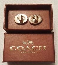 BRAND NEW COACH 62431G GOLD TONE TURN LOCK STAINLESS STEEL CUFFLINKS