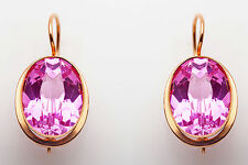 Antique 1940s RETRO 25ct Pink Sapphire 14k Yellow Gold RUSSIA Earrings 11g RARE