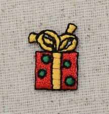 Iron On Embroidered Applique Patch Mini Christmas Gift Small Red Package Present