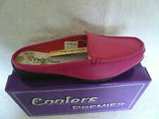 LADIES  MULES LOAFERS MOCCASINS BACKLESS SHOES PINK LEATHER SIZE 8UK BY COOLERS