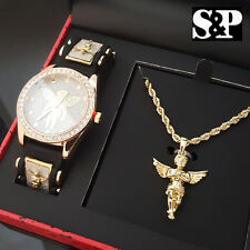MENS HIP HOP ICED OUT GOLD PT CZ BABY ANGEL WATCH & NECKLACE GIFT COMBO SET