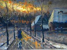 """Gemälde von Hamid Mehrnia """"Heimweg in Winterliches Abenddämmerung"""" Öl auf Holz"""