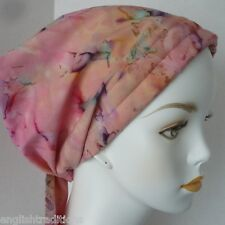 Cancer Chemo Alopecia Hair Loss Scarf Turban Hat Hand Dyed Batik Head Wrap Cover