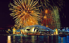 Scenic View Fireworks over Sydney Opera House photo Print A4 NEW FREE UK POSTAGE