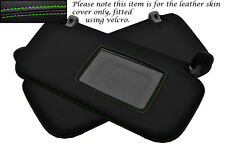 GREEN STITCH FITS HYUNDAI GETZ 02-08 2X SUN VISORS LEATHER COVERS ONLY