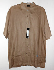 NWT  TAUPE 100% LINEN S/S BUTTON FRONT Mark Richards BY PUNTODUE  Men's Sz LARGE