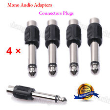 4 Pack RCA Female to 1/4 6.35mm Male Mono Audio Adapters Connectors Plugs